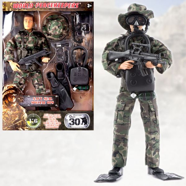 World Peacekeepers Navy Seal Special Ops 12in Poseable Army Action Toy Figure